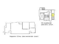 Planimetria magazzino 125 mq seminterrato, 4 locali, 1 bagno, Atlantic Business Center via Fantoli 7 Milano mecenate