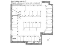 Floor plan of the garage at the second basement floor - Atlantic Business Center - Milan