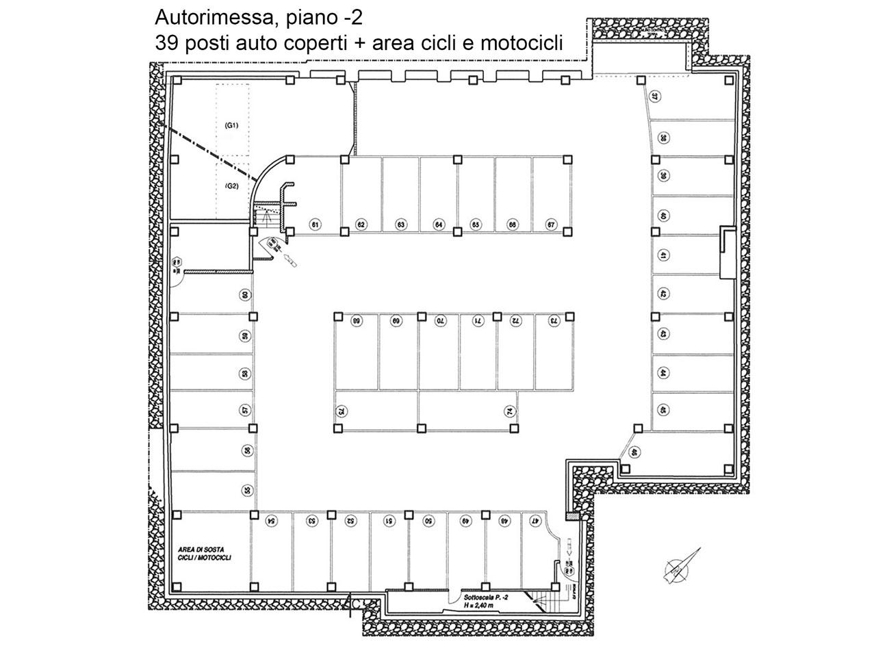 Floor plan of the garage at the second basement floor - Atlantic Business Center - Milan
