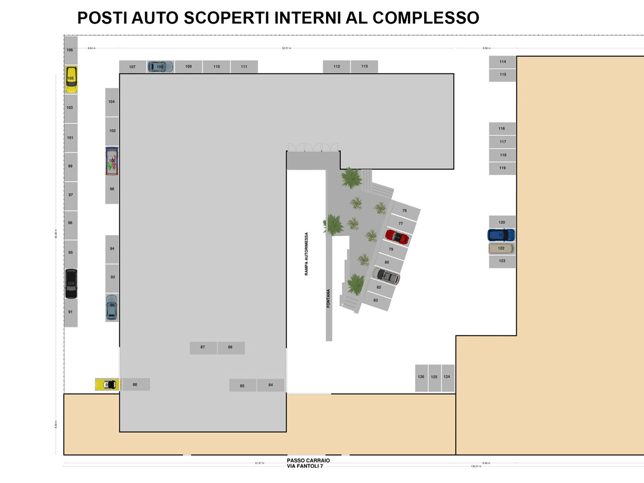 Floorplan of outdoor parking spaces to rent inside the Atlantic Business Center - Milan