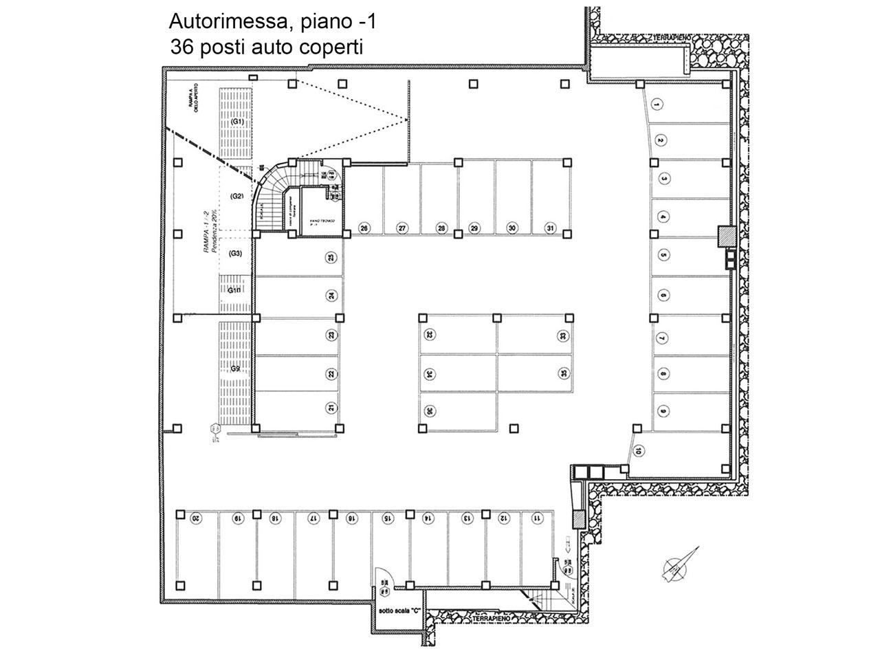 Planimetria della autorimessa al primo piano interrato - Atlantic Business Center - Milano via Fantoli 7